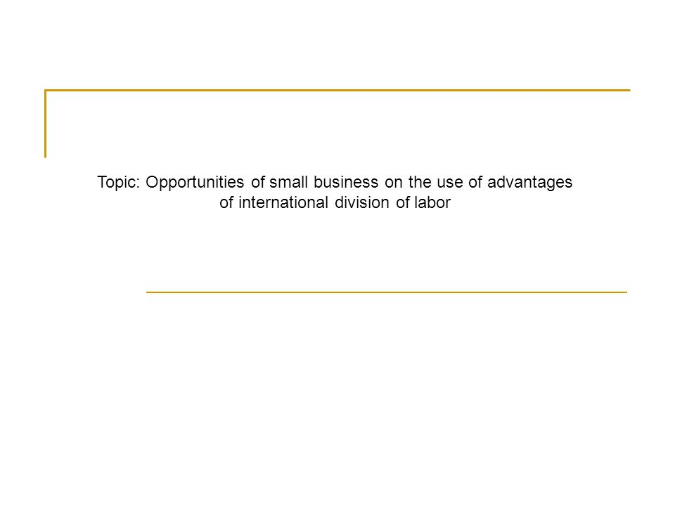 Topic: Opportunities of small business on the use of advantages of international division of labor