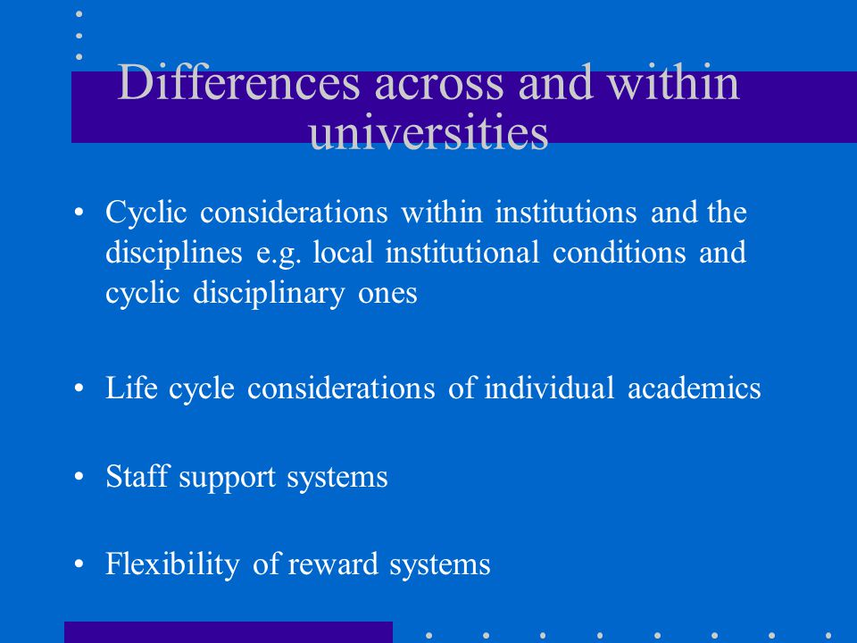 Differences across and within universities Cyclic considerations within institutions and the disciplines e.g.