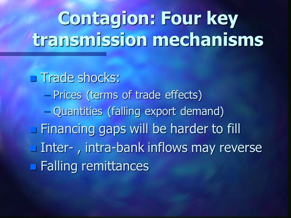 Contagion: Four key transmission mechanisms n Trade shocks: –Prices (terms of trade effects) –Quantities (falling export demand) n Financing gaps will be harder to fill n Inter-, intra-bank inflows may reverse n Falling remittances