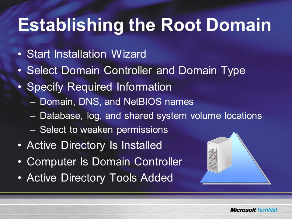 Establishing the Root Domain Start Installation Wizard Select Domain Controller and Domain Type Specify Required Information –Domain, DNS, and NetBIOS names –Database, log, and shared system volume locations –Select to weaken permissions Active Directory Is Installed Computer Is Domain Controller Active Directory Tools Added
