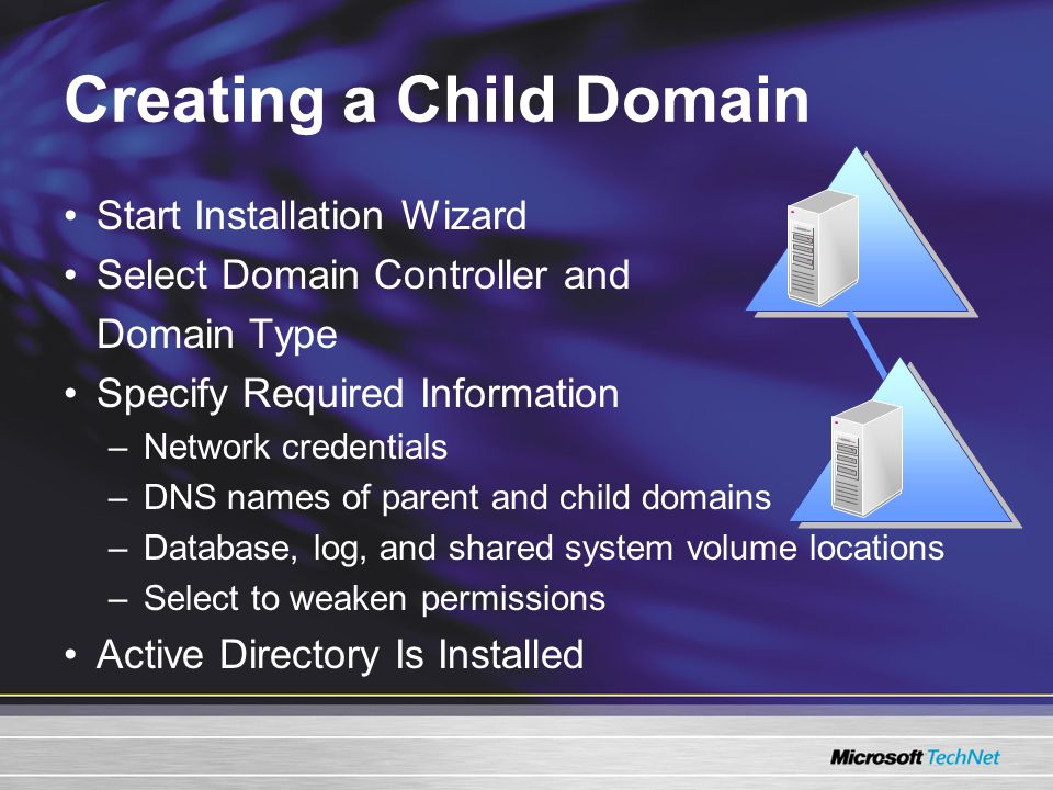 Creating a Child Domain Start Installation Wizard Select Domain Controller and Domain Type Specify Required Information –Network credentials –DNS names of parent and child domains –Database, log, and shared system volume locations –Select to weaken permissions Active Directory Is Installed