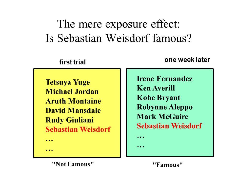 The mere exposure effect: Is Sebastian Weisdorf famous.