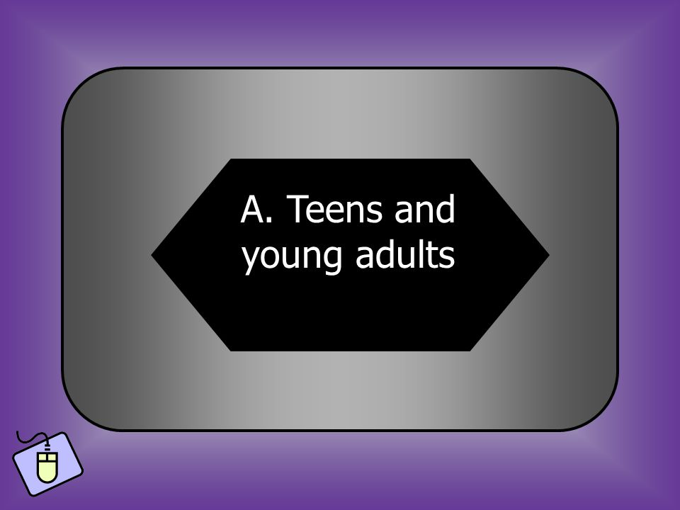 A:B: Teens and young adults Babies 15. Who is most likely to get mono? C:D: The elderlyMoms and dads