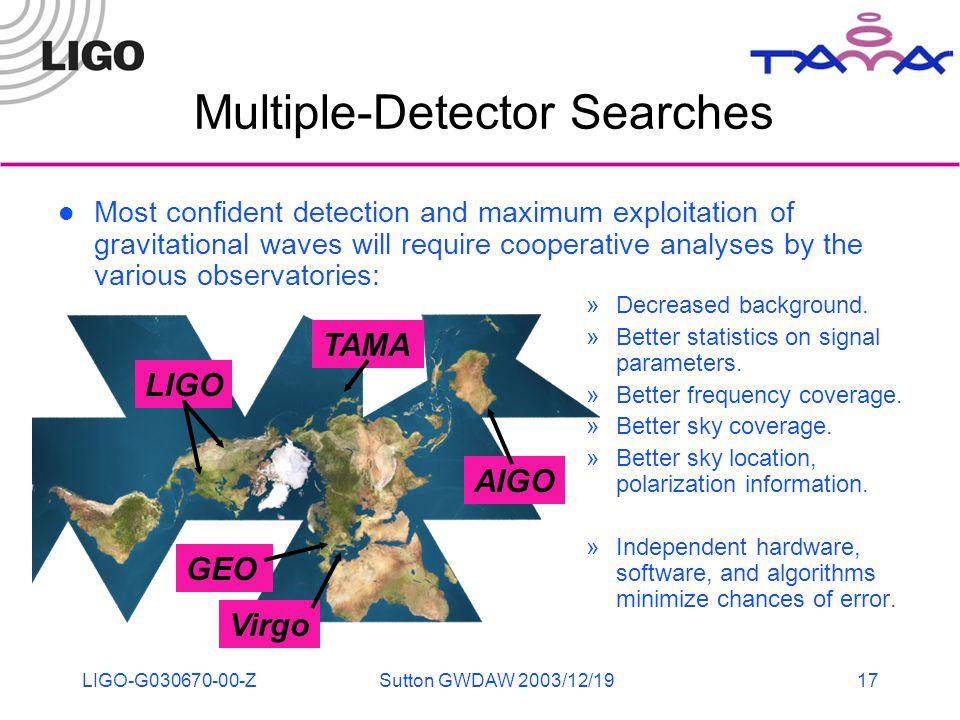 LIGO-G030670-00-ZSutton GWDAW 2003/12/1917 Multiple-Detector Searches »Decreased background.