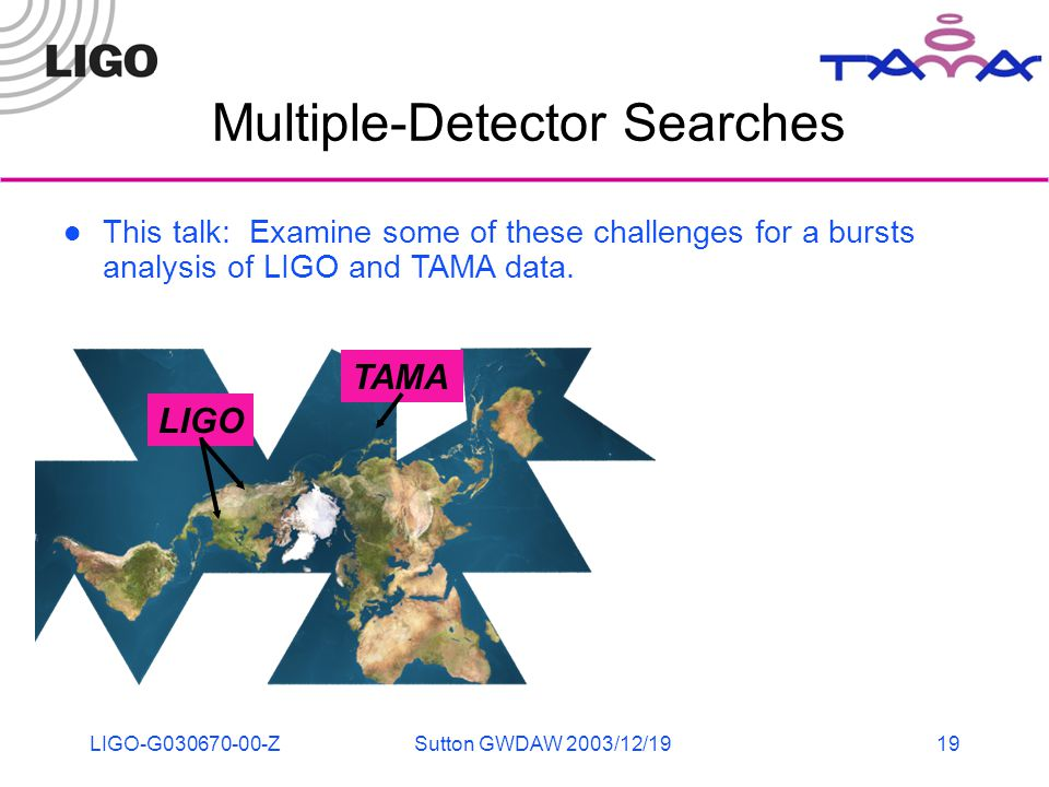 LIGO-G030670-00-ZSutton GWDAW 2003/12/1919 Multiple-Detector Searches This talk: Examine some of these challenges for a bursts analysis of LIGO and TA