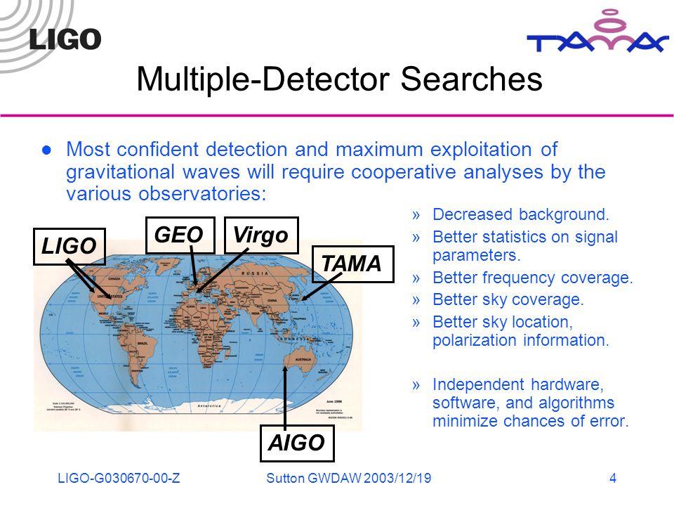 LIGO-G030670-00-ZSutton GWDAW 2003/12/194 Multiple-Detector Searches »Decreased background.