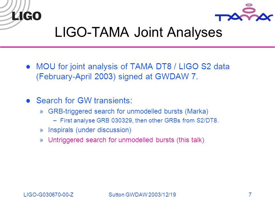 LIGO-G030670-00-ZSutton GWDAW 2003/12/197 LIGO-TAMA Joint Analyses MOU for joint analysis of TAMA DT8 / LIGO S2 data (February-April 2003) signed at GWDAW 7.