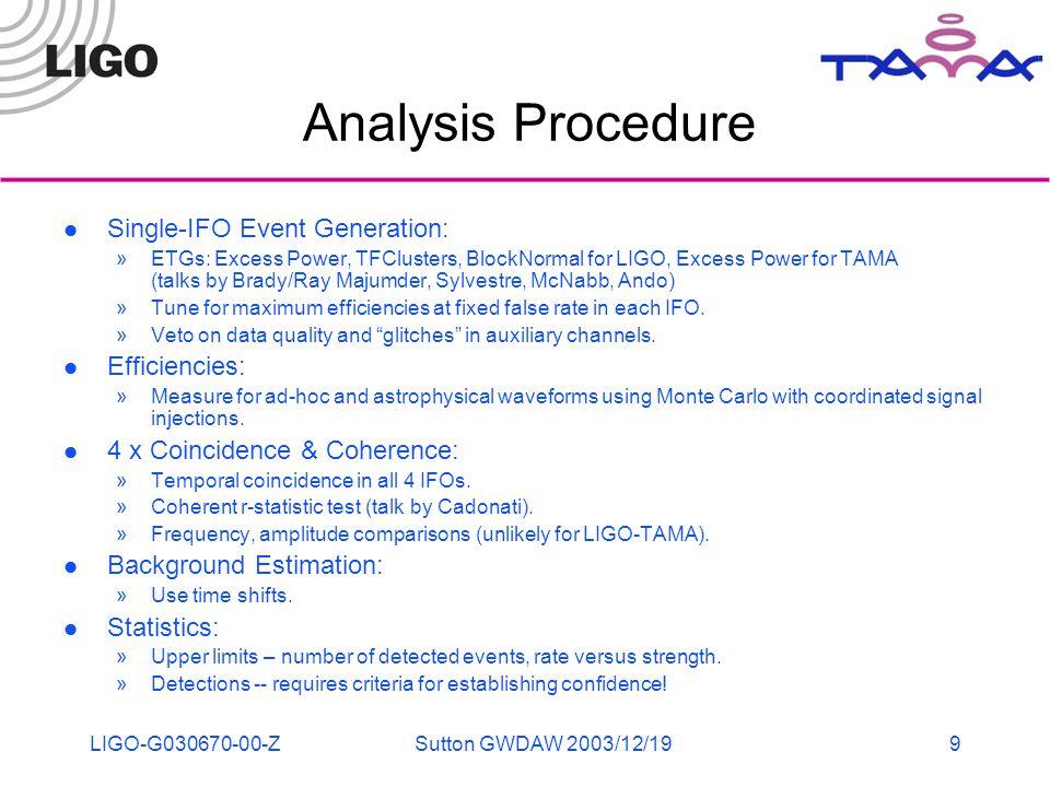 LIGO-G030670-00-ZSutton GWDAW 2003/12/199 Analysis Procedure Single-IFO Event Generation: »ETGs: Excess Power, TFClusters, BlockNormal for LIGO, Exces