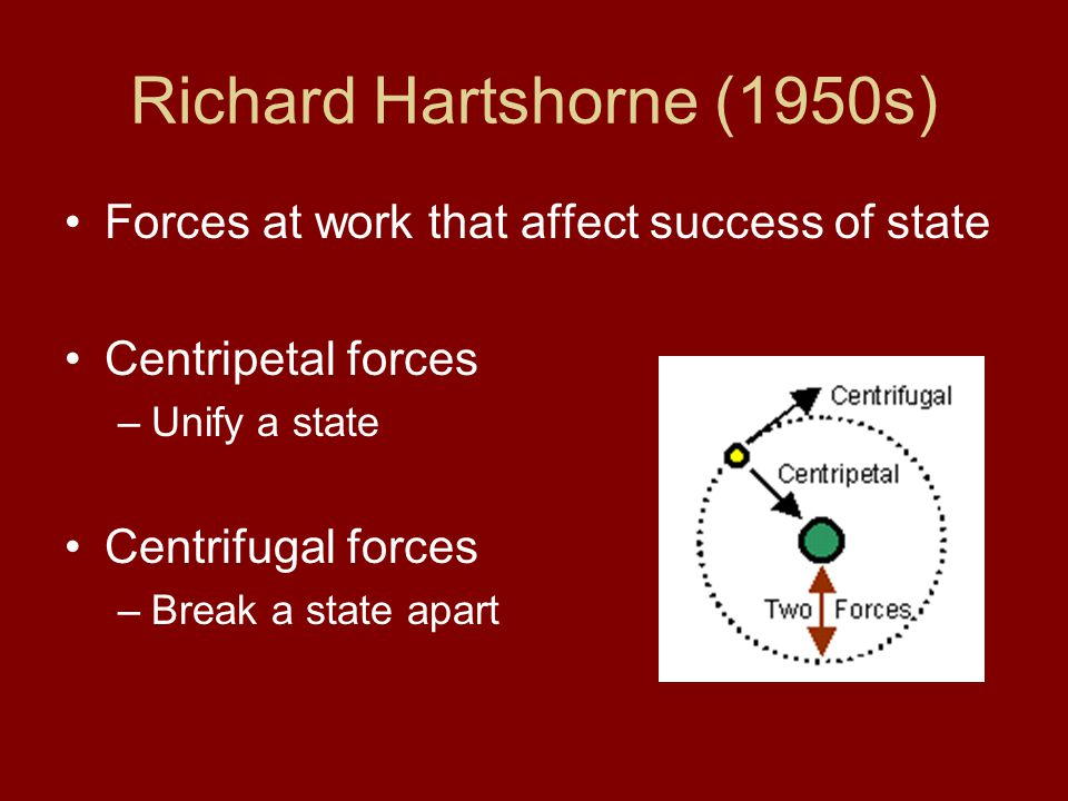 Richard Hartshorne (1950s) Forces at work that affect success of state Centripetal forces –Unify a state Centrifugal forces –Break a state apart