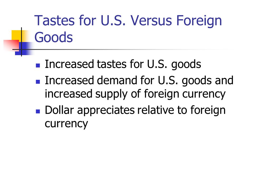 Tastes for U.S. Versus Foreign Goods Increased tastes for U.S. goods Increased demand for U.S. goods and increased supply of foreign currency Dollar a