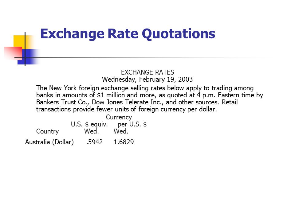 Exchange Rate Quotations EXCHANGE RATES Wednesday, February 19, 2003 The New York foreign exchange selling rates below apply to trading among banks in