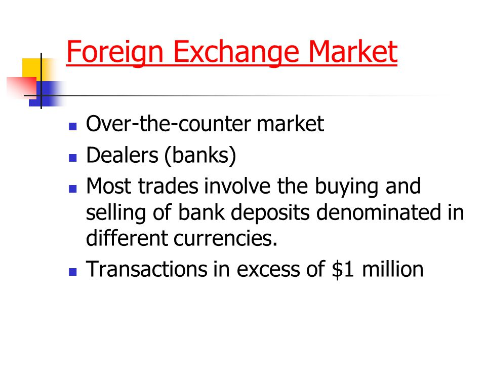 Foreign Exchange Market Over-the-counter market Dealers (banks) Most trades involve the buying and selling of bank deposits denominated in different c