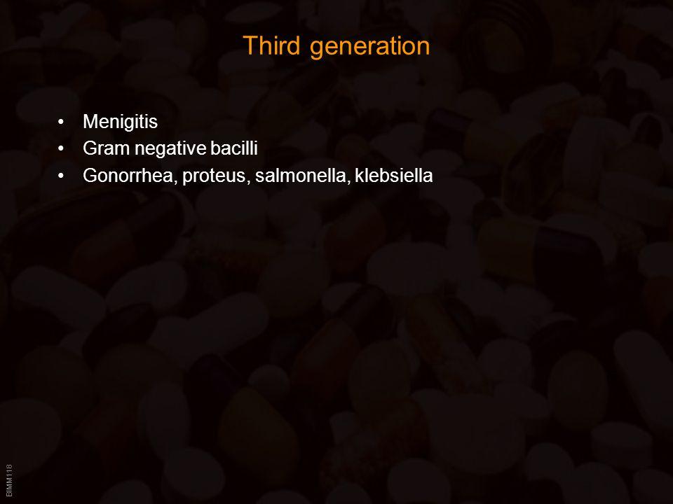 BIMM118 Third generation Menigitis Gram negative bacilli Gonorrhea, proteus, salmonella, klebsiella