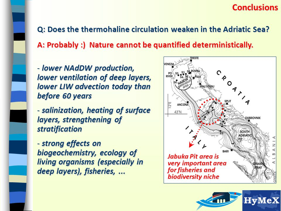 Conclusions Q: Does the thermohaline circulation weaken in the Adriatic Sea? A: Probably :) Nature cannot be quantified deterministically. - lower NAd