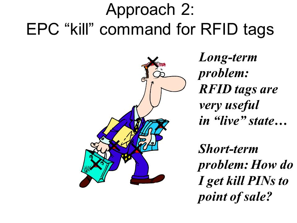 Long-term problem: RFID tags are very useful in live state… Approach 2: EPC kill command for RFID tags Short-term problem: How do I get kill PINs to point of sale