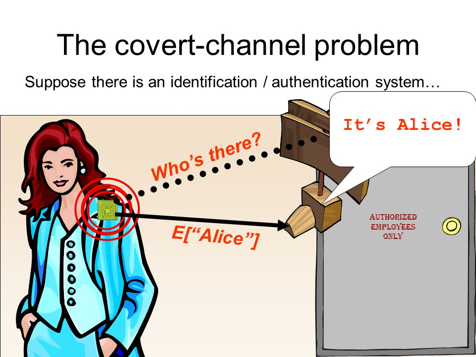 The covert-channel problem Suppose there is an identification / authentication system… Authorized Employees Only Who's there.