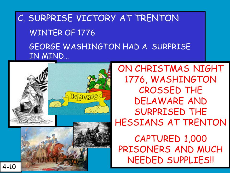 C. SURPRISE VICTORY AT TRENTON WINTER OF 1776 GEORGE WASHINGTON HAD A SURPRISE IN MIND… 4-10 ON CHRISTMAS NIGHT 1776, WASHINGTON CROSSED THE DELAWARE