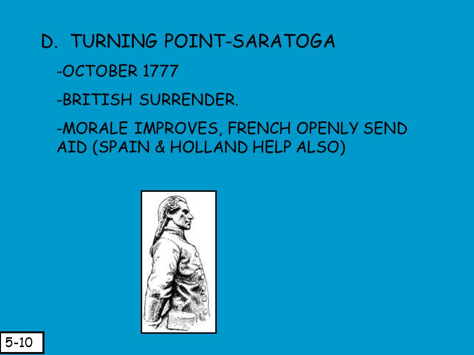 D. TURNING POINT-SARATOGA -OCTOBER 1777 -BRITISH SURRENDER. -MORALE IMPROVES, FRENCH OPENLY SEND AID (SPAIN & HOLLAND HELP ALSO) 5-10