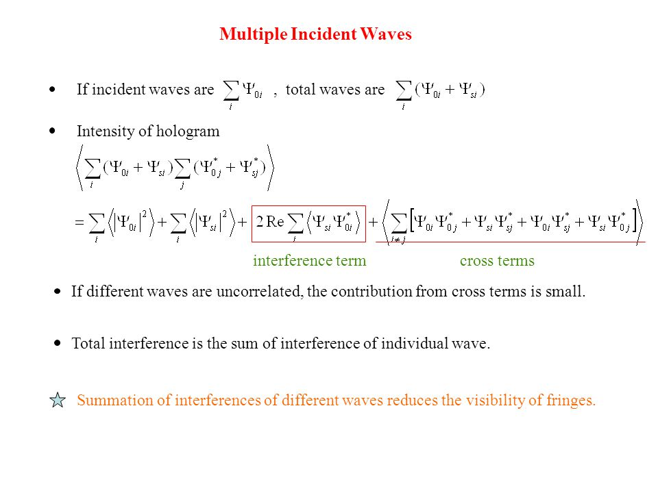 Multiple Incident Waves If incident waves are, total waves are Intensity of hologram cross terms If different waves are uncorrelated, the contribution from cross terms is small.