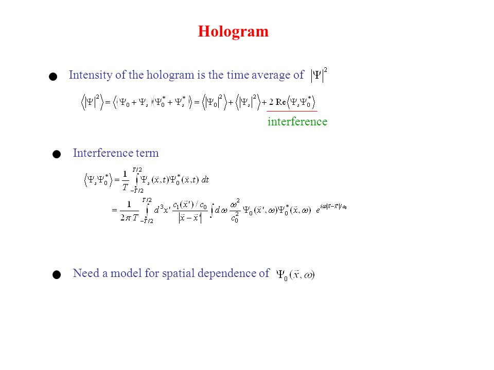 Hologram Intensity of the hologram is the time average of interference Interference term Need a model for spatial dependence of