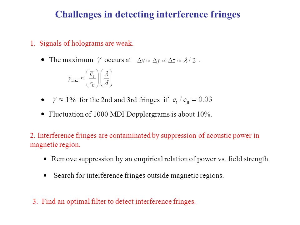 The maximum occurs at. 1. Signals of holograms are weak. Challenges in detecting interference fringes 2. Interference fringes are contaminated by supp