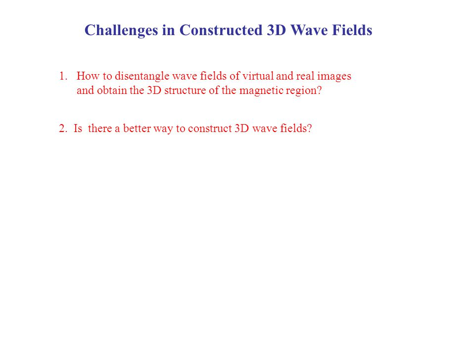 Challenges in Constructed 3D Wave Fields 2. Is there a better way to construct 3D wave fields? 1.How to disentangle wave fields of virtual and real im
