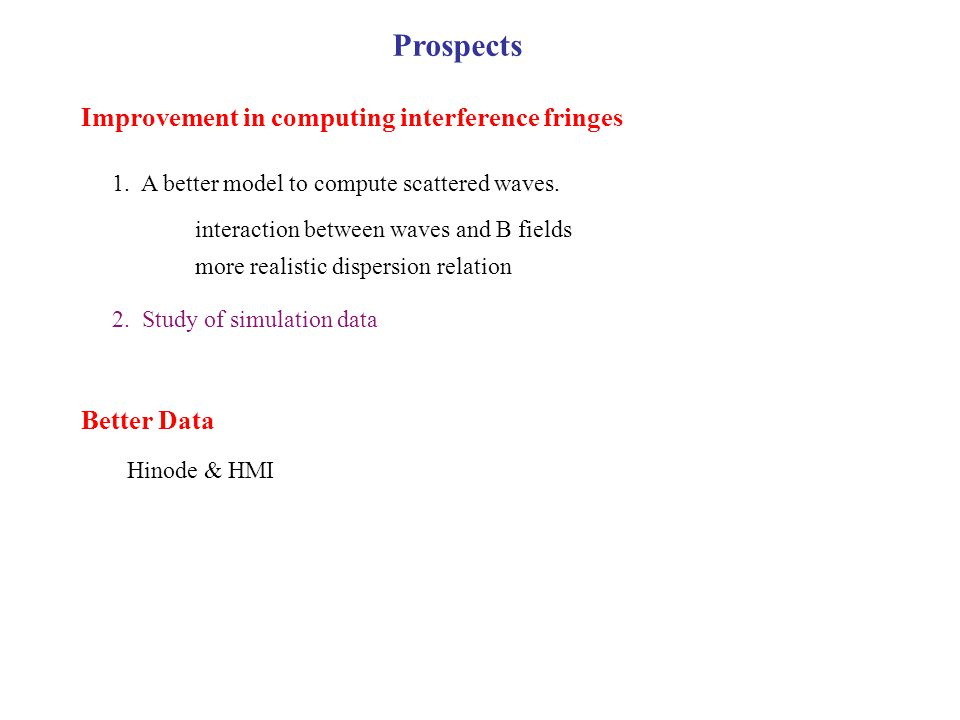 Improvement in computing interference fringes 1. A better model to compute scattered waves.