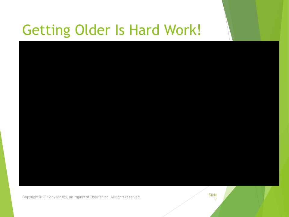 Getting Older Is Hard Work.Copyright © 2012 by Mosby, an imprint of Elsevier Inc.