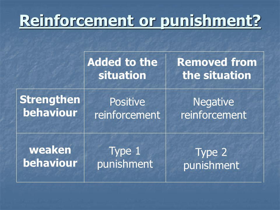 Reinforcement or punishment? Strengthen behaviour weaken behaviour Positive reinforcement Type 1 punishment Negative reinforcement Type 2 punishment A