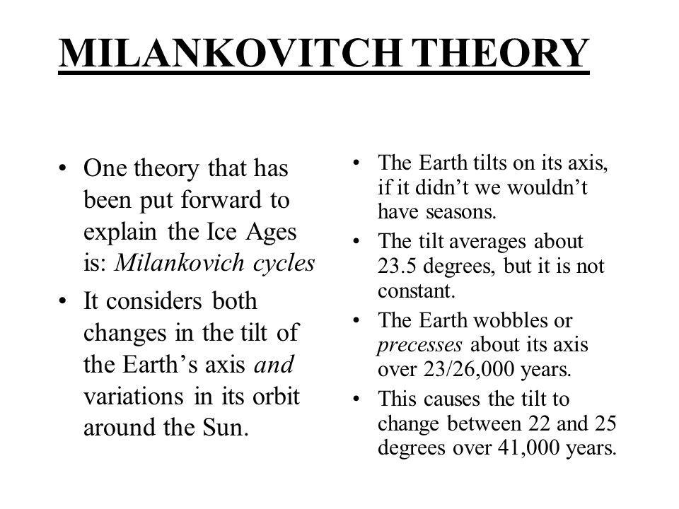 One theory that has been put forward to explain the Ice Ages is: Milankovich cycles It considers both changes in the tilt of the Earth's axis and vari
