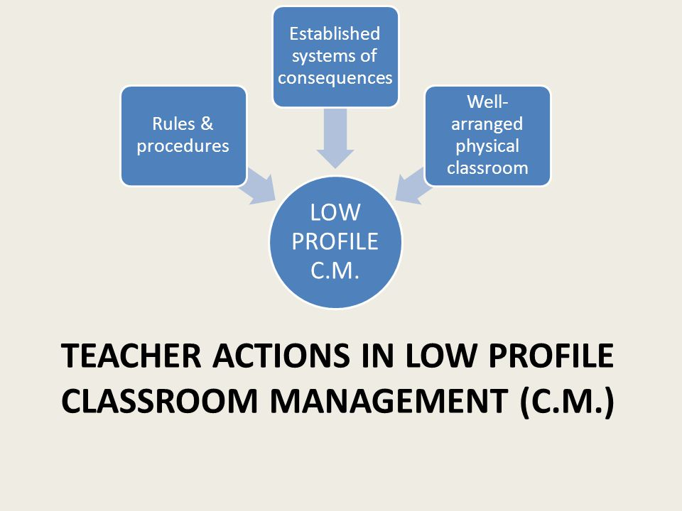TEACHER ACTIONS IN LOW PROFILE CLASSROOM MANAGEMENT (C.M.) LOW PROFILE C.M. Rules & procedures Established systems of consequences Well- arranged phys