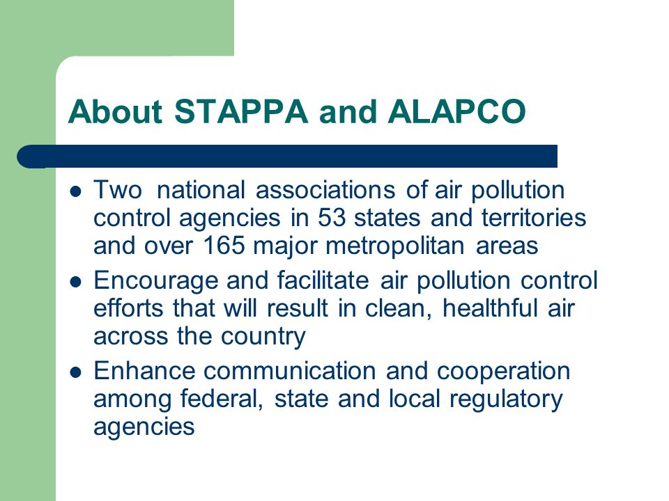 The Clean Air and Public Health Challenges Facing Our Nation 175 areas violate the health-based, federal 8- hour ozone (smog) and/or PM 2.5 (soot) standards 160 million people are exposed to unhealthful air Almost every person in the country is exposed to levels of toxic air pollution that exceed federally acceptable levels Heavy-duty diesel emissions are a primary contributor