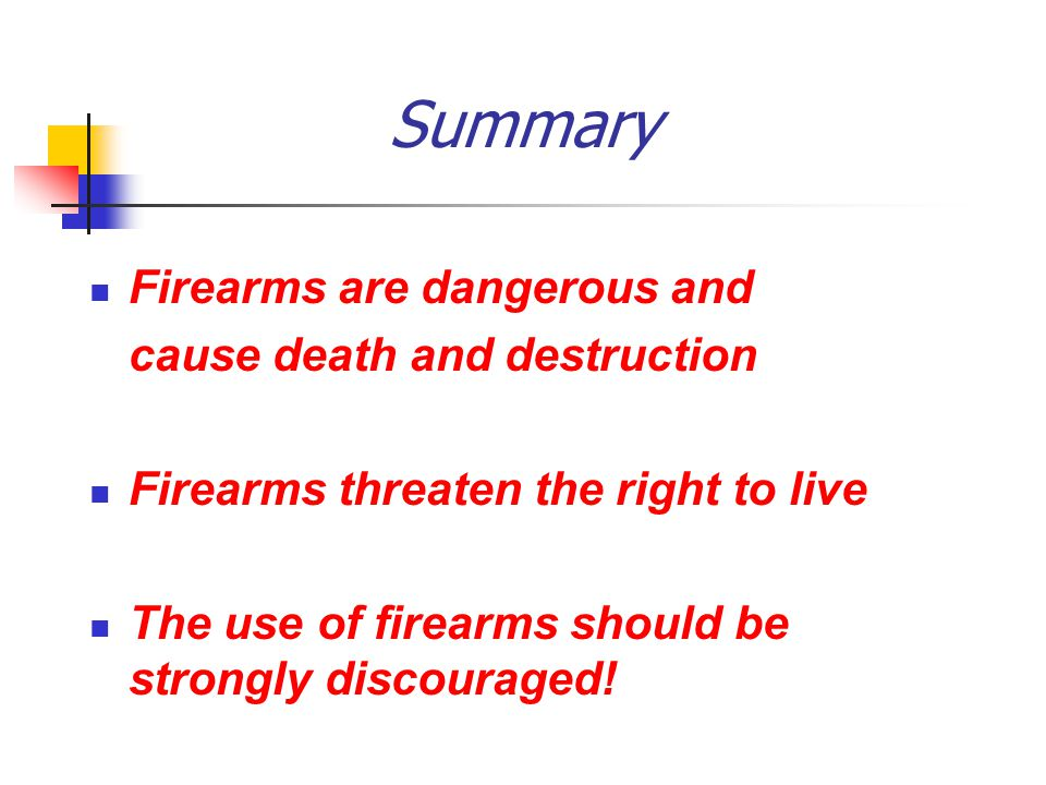 Summary Firearms are dangerous and cause death and destruction Firearms threaten the right to live The use of firearms should be strongly discouraged!