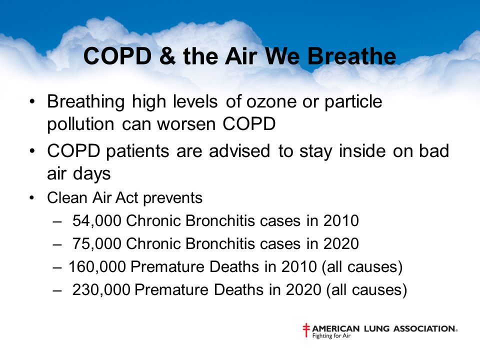 COPD & the Air We Breathe Breathing high levels of ozone or particle pollution can worsen COPD COPD patients are advised to stay inside on bad air day