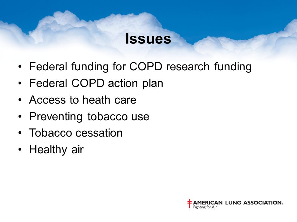 Issues Federal funding for COPD research funding Federal COPD action plan Access to heath care Preventing tobacco use Tobacco cessation Healthy air