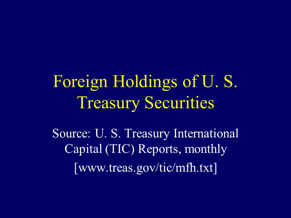 Foreign Holdings of U. S. Treasury Securities Source: U. S. Treasury International Capital (TIC) Reports, monthly [www.treas.gov/tic/mfh.txt]