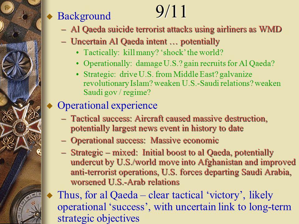 9/11 u Background –Al Qaeda suicide terrorist attacks using airliners as WMD –Uncertain Al Qaeda intent … potentially Tactically: kill many.