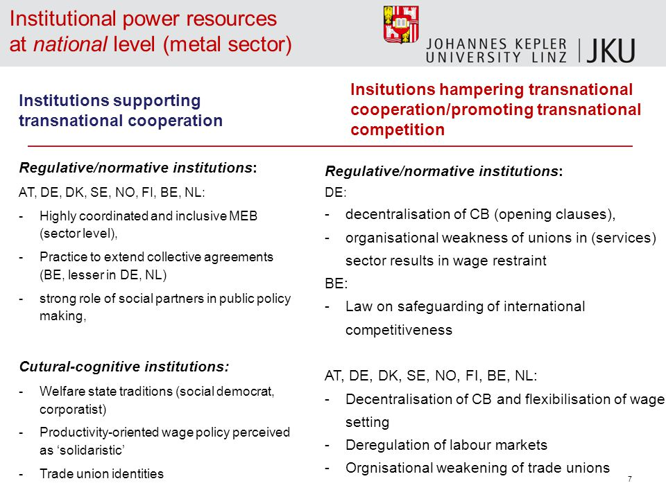 7 Institutional power resources at national level (metal sector) Regulative/normative institutions: DE: -decentralisation of CB (opening clauses), -organisational weakness of unions in (services) sector results in wage restraint BE: -Law on safeguarding of international competitiveness AT, DE, DK, SE, NO, FI, BE, NL: -Decentralisation of CB and flexibilisation of wage setting -Deregulation of labour markets -Orgnisational weakening of trade unions Institutions supporting transnational cooperation Regulative/normative institutions: AT, DE, DK, SE, NO, FI, BE, NL: -Highly coordinated and inclusive MEB (sector level), -Practice to extend collective agreements (BE, lesser in DE, NL) -strong role of social partners in public policy making, Cutural-cognitive institutions: -Welfare state traditions (social democrat, corporatist) -Productivity-oriented wage policy perceived as 'solidaristic' -Trade union identities Insitutions hampering transnational cooperation/promoting transnational competition