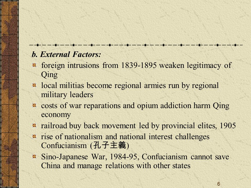 6 b. External Factors: foreign intrusions from 1839-1895 weaken legitimacy of Qing local militias become regional armies run by regional military lead