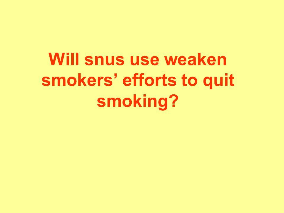 Will snus use weaken smokers' efforts to quit smoking