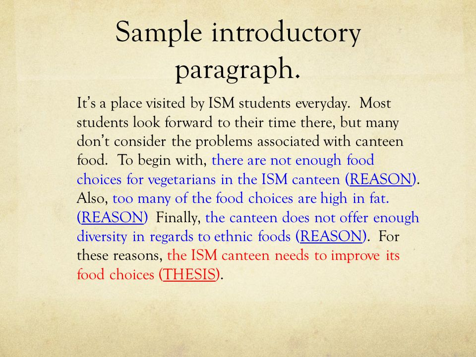 Sample introductory paragraph. It's a place visited by ISM students everyday. Most students look forward to their time there, but many don't consider