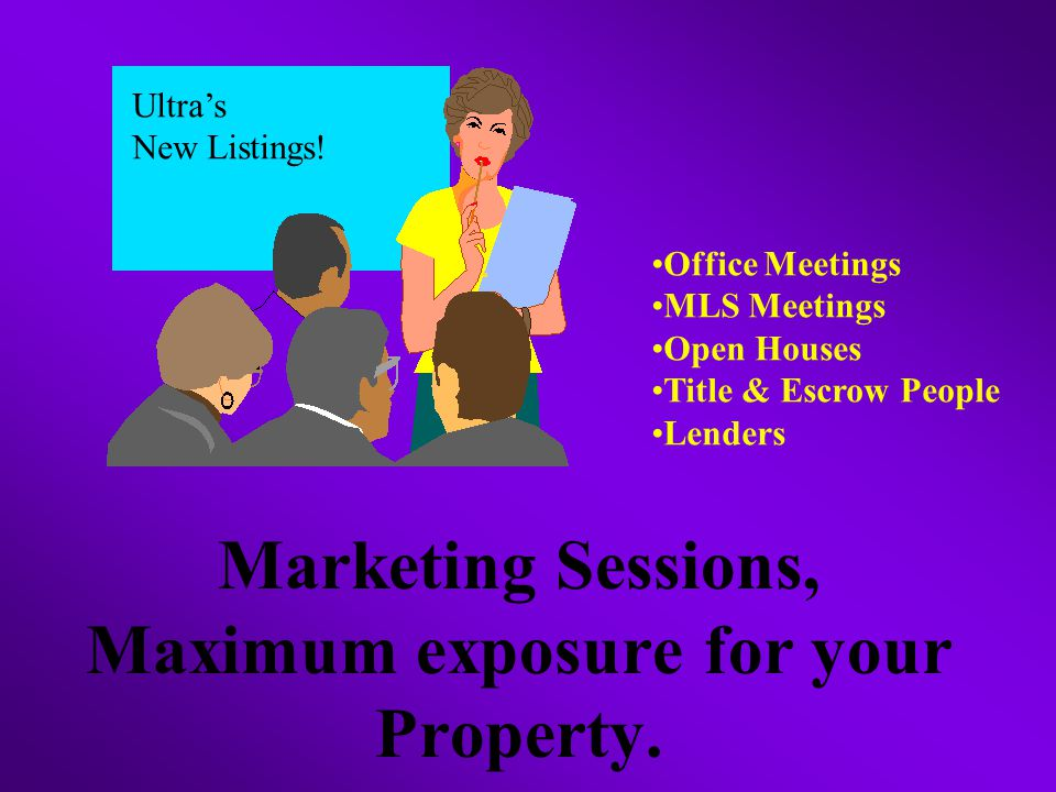 Marketing Sessions, Maximum exposure for your Property.