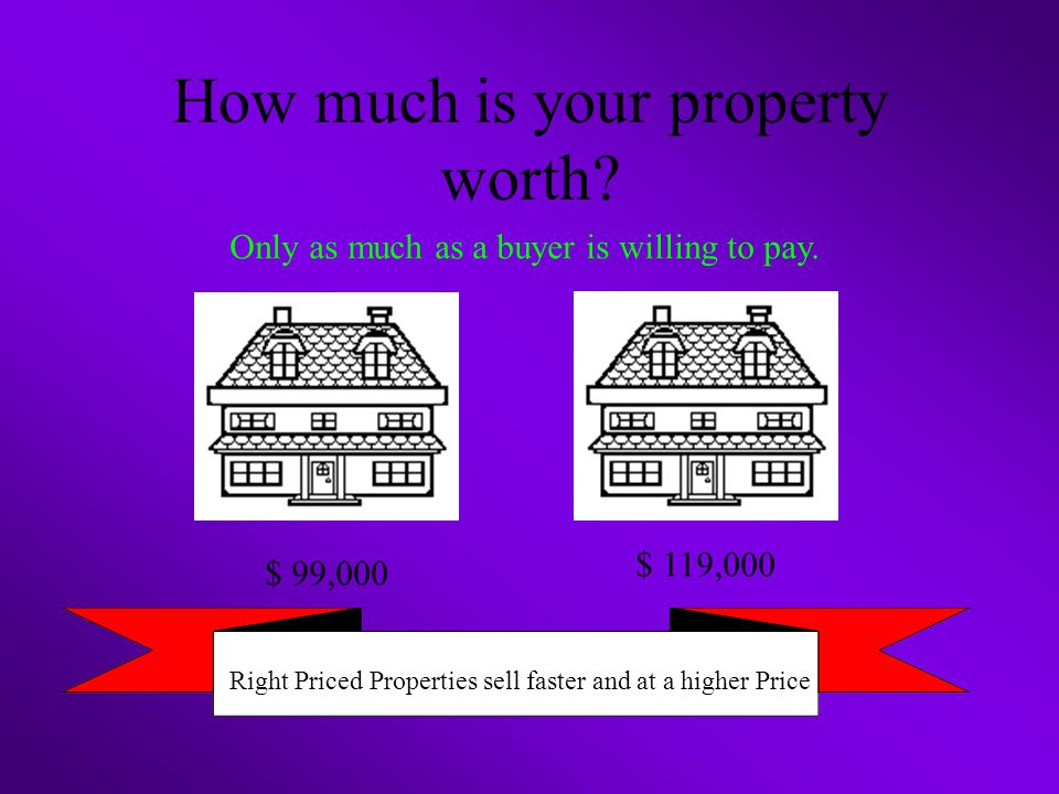 How much is your property worth. Only as much as a buyer is willing to pay.