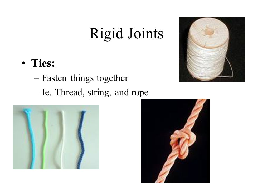 Rigid Joints Ties: –Fasten things together –Ie. Thread, string, and rope