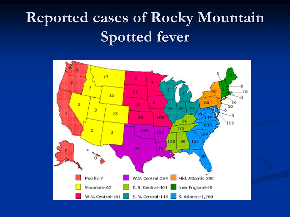 Reported cases of Rocky Mountain Spotted fever