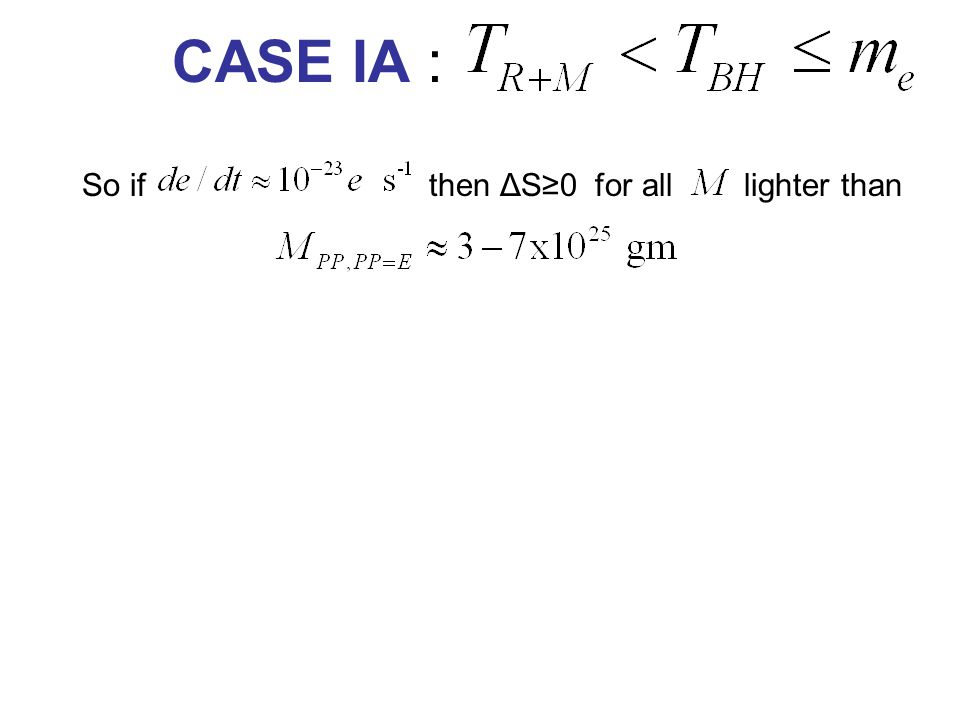 CASE IA : So if then ΔS≥0 for all lighter than