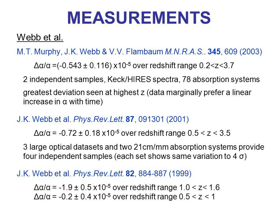 MEASUREMENTS Webb et al. M.T. Murphy, J.K. Webb & V.V. Flambaum M.N.R.A.S.. 345, 609 (2003) Δα/α =(-0.543 ± 0.116) x10 -5 over redshift range 0.2<z<3.