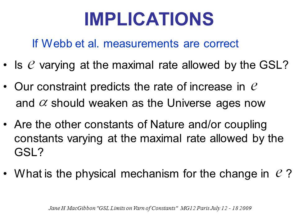 Jane H MacGibbon GSL Limits on Varn of Constants MG12 Paris July 12 - 18 2009 IMPLICATIONS If Webb et al.