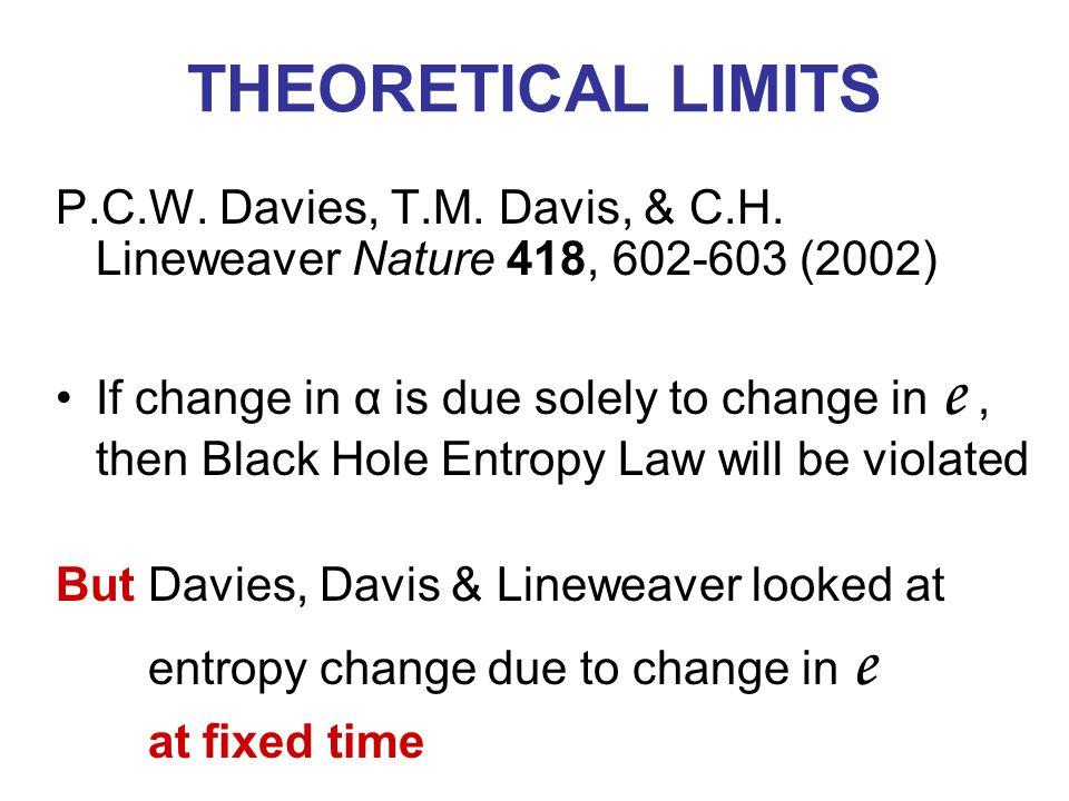 THEORETICAL LIMITS P.C.W. Davies, T.M. Davis, & C.H.