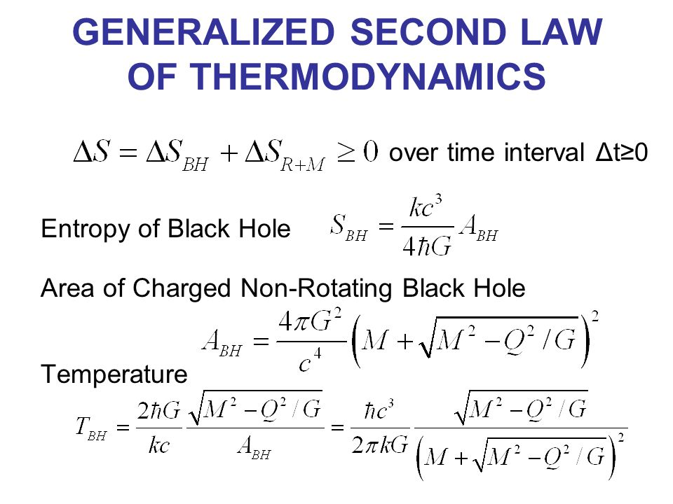 GENERALIZED SECOND LAW OF THERMODYNAMICS over time interval Δt≥0 Entropy of Black Hole Area of Charged Non-Rotating Black Hole Temperature